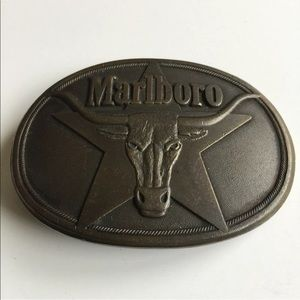 80s Marlboro Brass Steer Star Belt Buckle